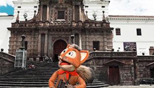 Amaia y Darya en Ecuador, la mitad del mundo